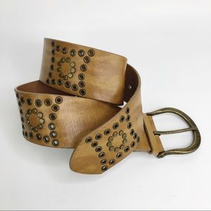 "Studded leather belt 32"" boho western"